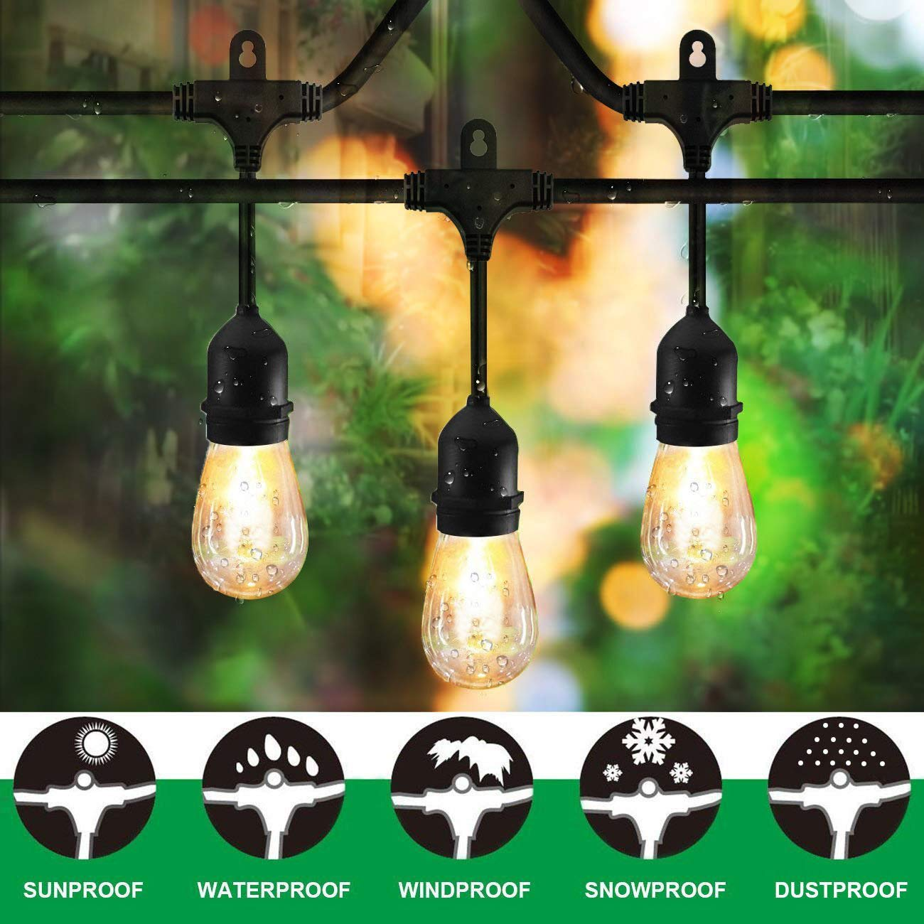 Classyke 48FT Outdoor String Lights for Patio Garden Yard Deck Cafe Dimmable Waterproof Commercial Grade 18 Incandescent Bulbs (3 Spare) by Classyke