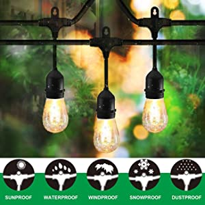 Classyke 48FT Outdoor String Lights for Patio Garden Yard Deck Cafe Dimmable Waterproof Commercial Grade 18 Incandescent Bulbs (3 Spare)