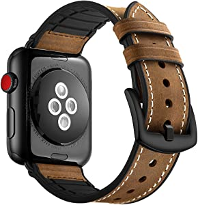 Wollpo Compatible for Apple Watch Band, Stainless Steel Metal iWatch Bands for Apple Watch Nike+, Series 4, Series 3, Series 2, Series 1, Sport, Edition (Hybrid Leather 42mm/44mm)