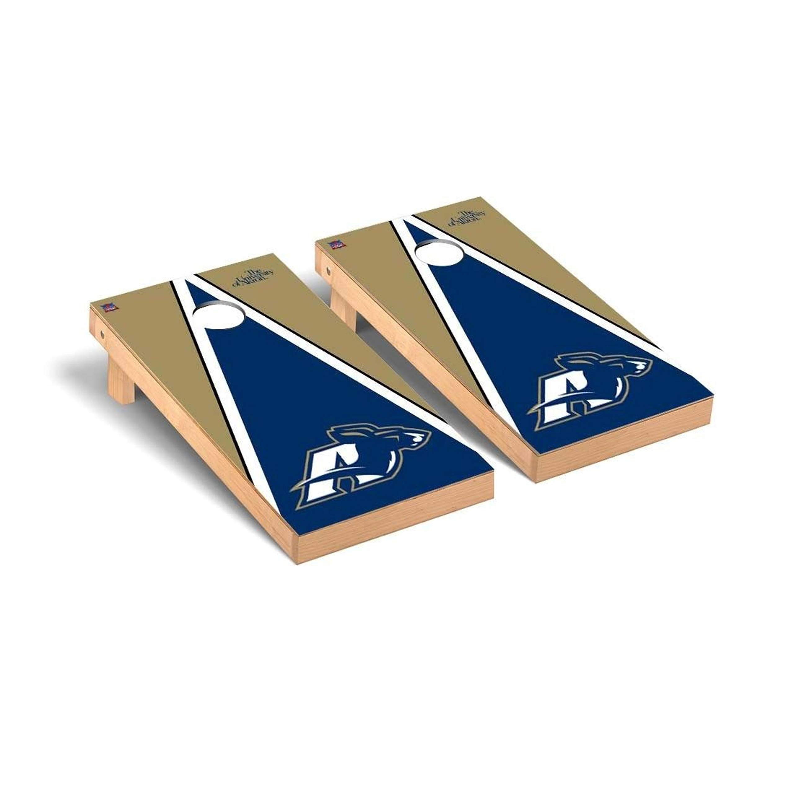 Victory Tailgate Regulation Collegiate NCAA Triangle Series Cornhole Board Set - 2 Boards, 8 Bags - Akron Zips