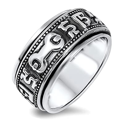 Unique Wrench Spinner Sterling Silver Mens Ring Sizes 712Amazoncom