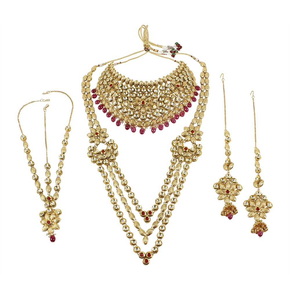 MUCHMORE Unique Style Polki Traditional Necklace Earring Bridal Set With Ruby Droppings by Muchmore