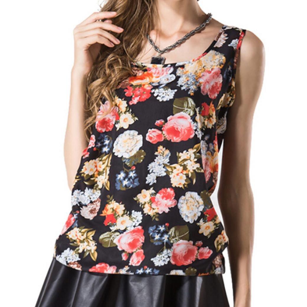 Maonet Women Chiffon Floral Print Tank Vest Tops O-Neck T-Shirt Blouse