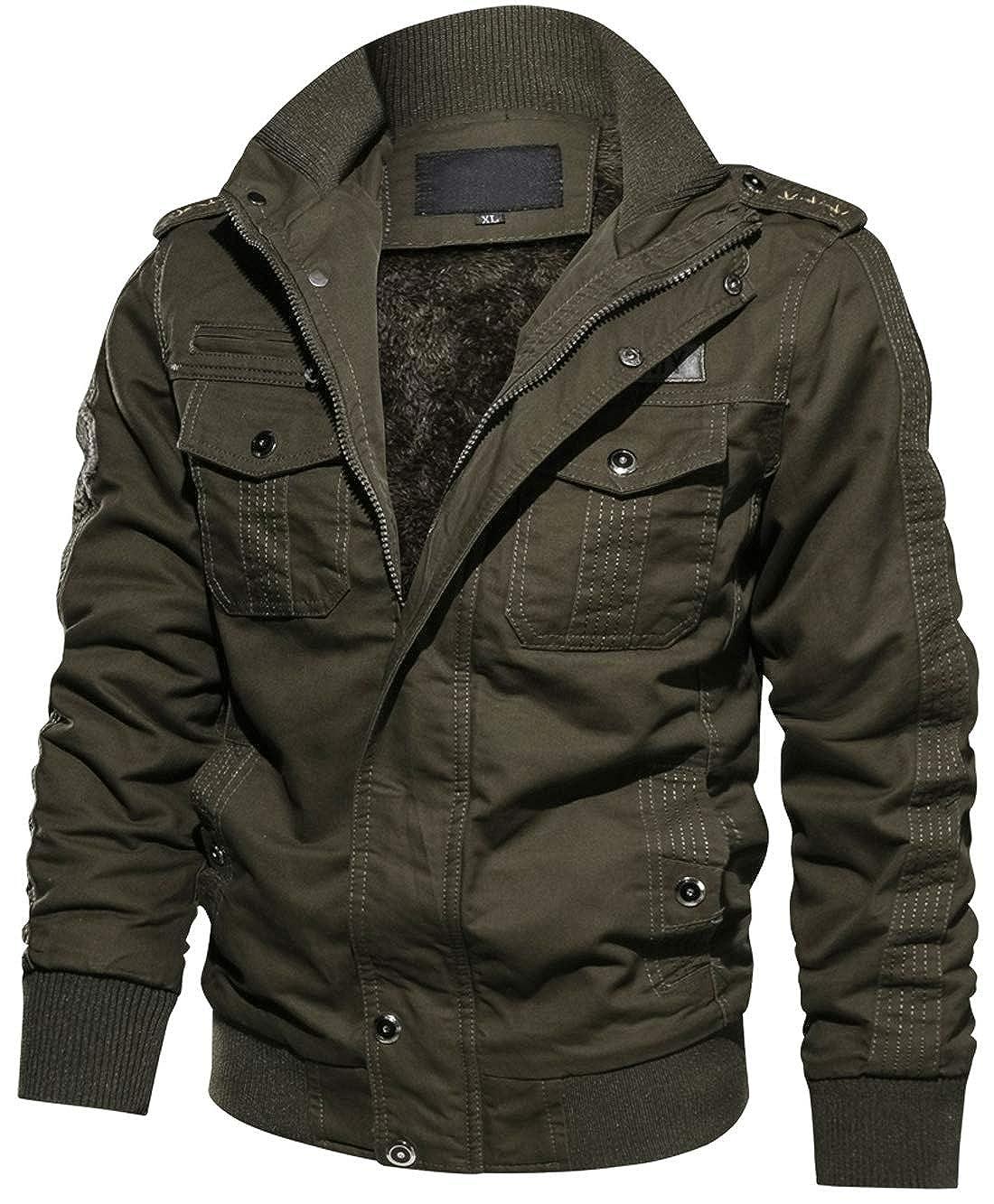 ad693fa98 chouyatou Men's Sportswear Full Zip Sherpa Lined Military Outerwear Bomber  Jacket