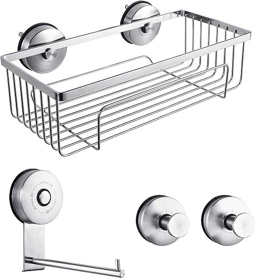 Suction Cup Bathroom Storage Shelf Rack Caddy Holder Bar Kitchen Organiser Tray