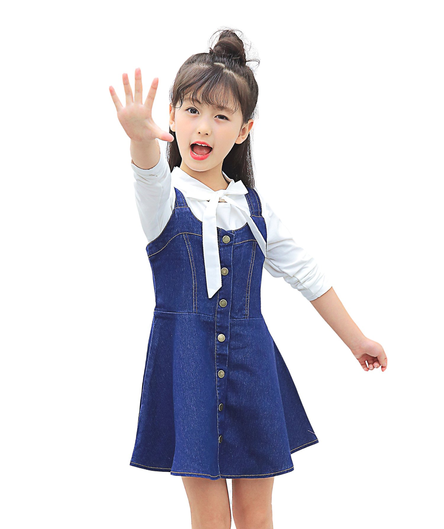Kidscool Girls Cute Cardigan Jeans Summer Overalls Dress,Blue,7-8 Years
