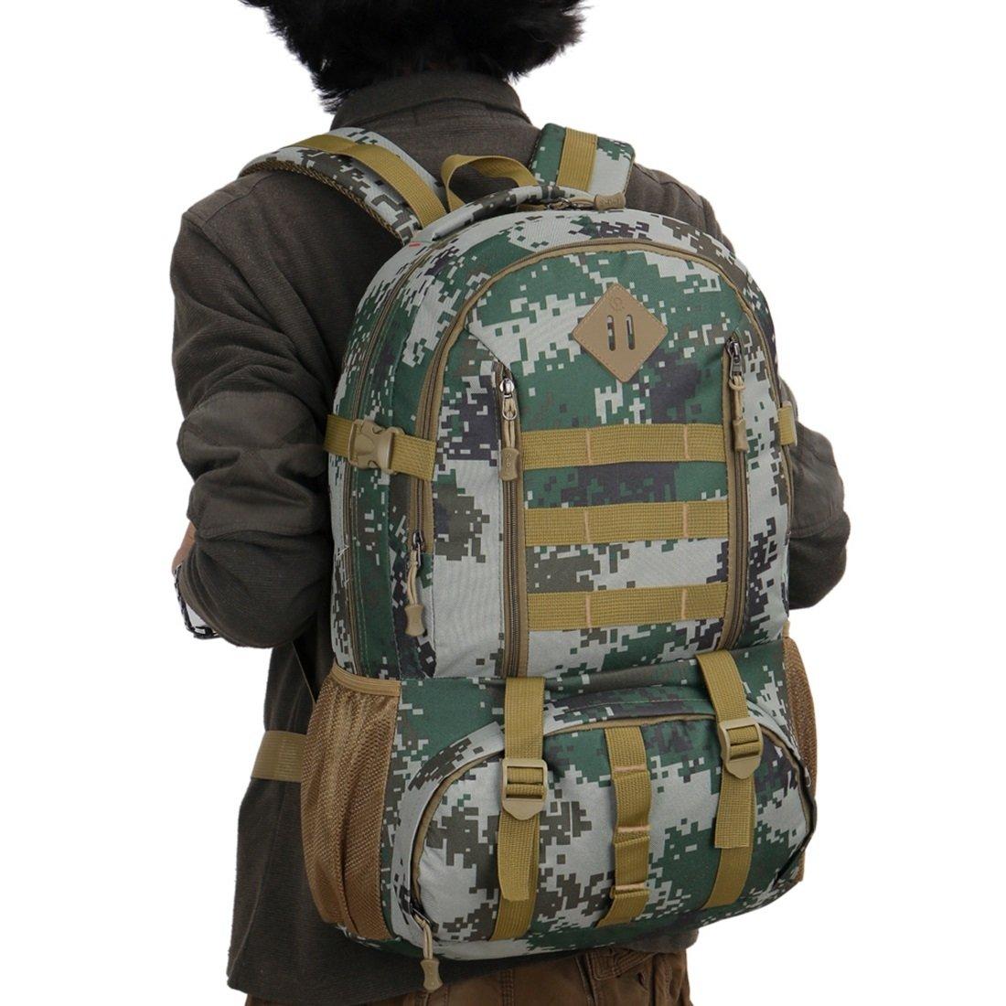 Carriemeow アウトドア登山バッグ 旅行バックパック 男女兼用 大容量50L 迷彩ショルダーバッグ トラベルバッグ オックスフォード生地 Carriemeow B07PKFB36D Army Green Camo