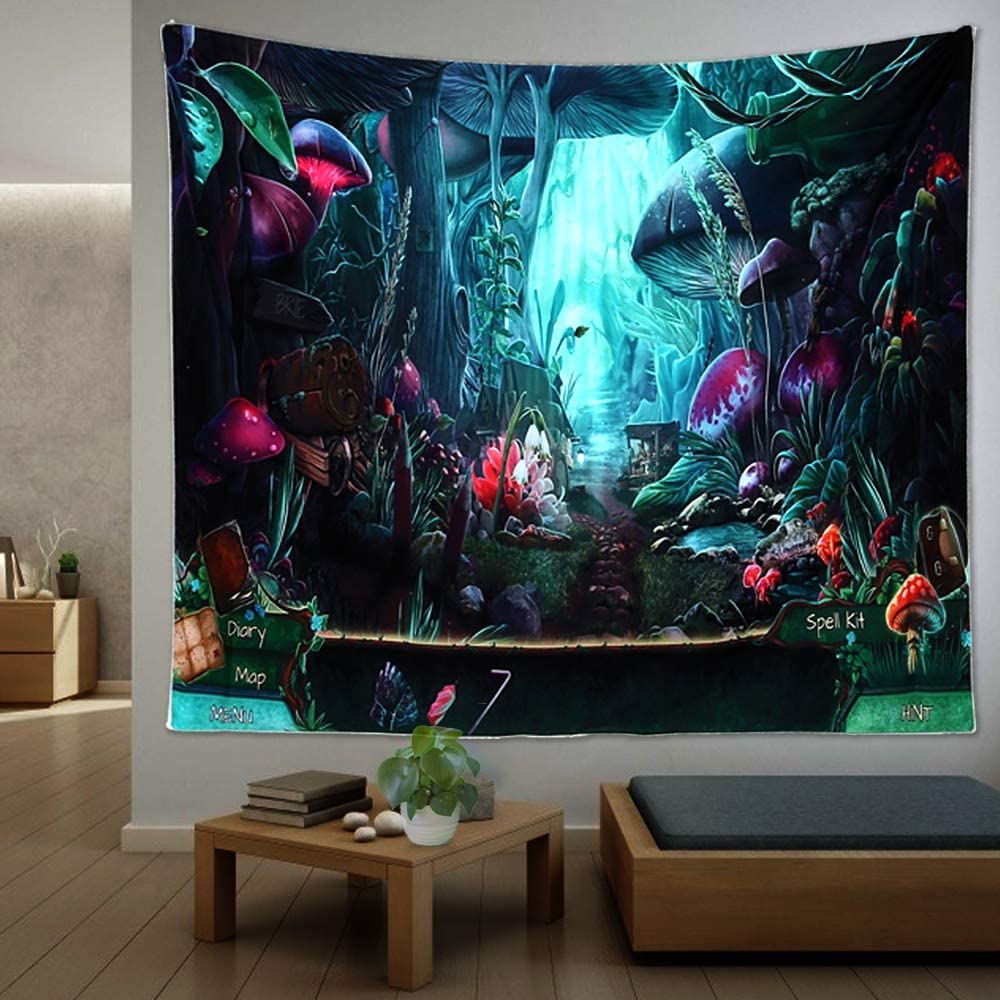 Psychedelic Mushroom Trippy Tapestry For Man, Hippie Trippy Posters Wall Hanging, Trippy Room Decor Posters Forest Tapestries For Man, Mens Tapestry For Bedroom Tapestries For Bedroom (51.2 x 59.1 inches)