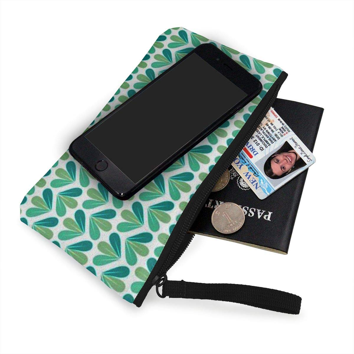 Coin Pouch Green Leaves Canvas Coin Purse Cellphone Card Bag With Handle And Zipper