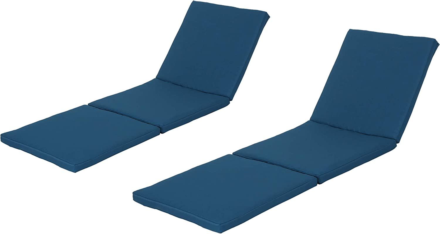 Christopher Knight Home Jamaica Outdoor Water Resistant Chaise Lounge Cushions, 2-Pcs Set, Blue