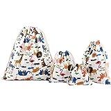 Amoyie – 4 pezzi organizer borsa tela con coulisse, Sacchi da biancheria, sacchettini per feste, abiti, pannolini, giocattoli, matite colorate, caramella, regalo (4 diverse dimensioni)
