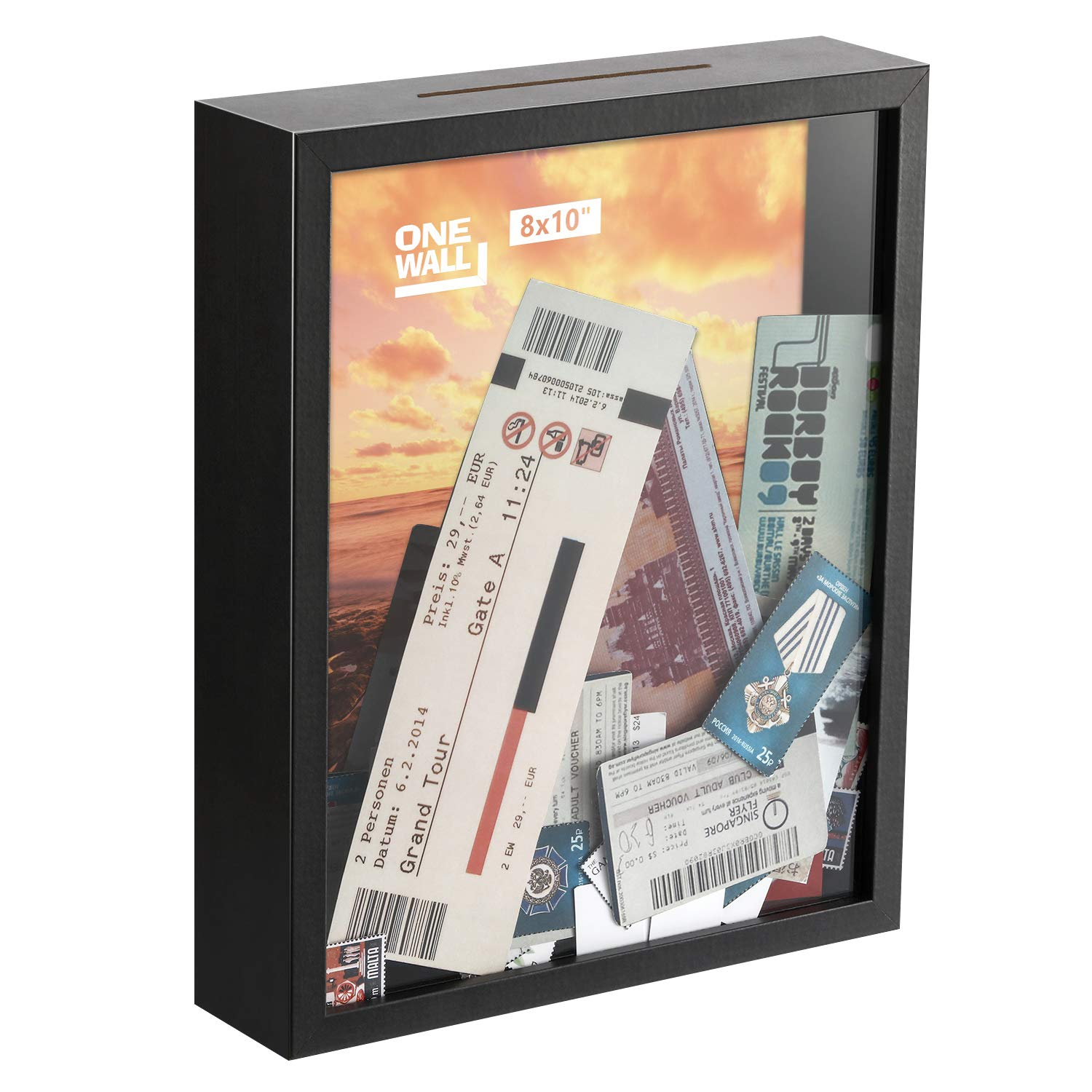 ONE WALL 8x10 Inch Shadow Box Display Case Black Wood Frame with Top Loading for Memorable Stamps, Tickets for Wall and Tabletop - Mounting Hardware Included by ONE WALL