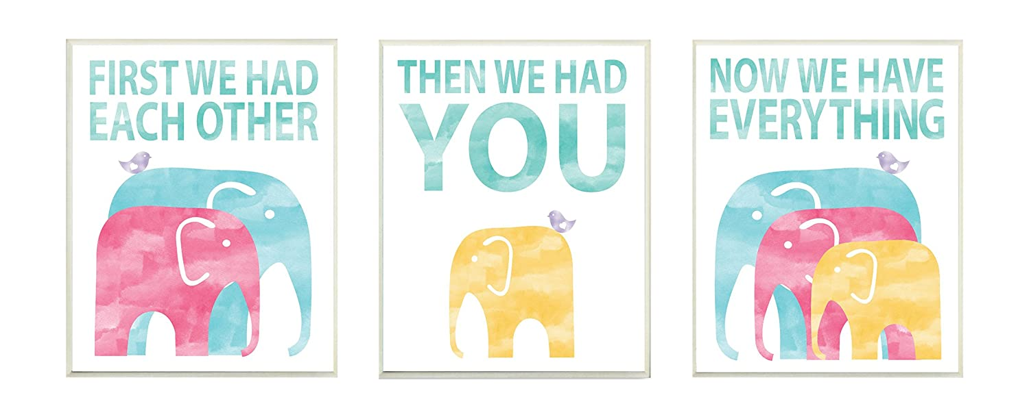 Proudly Made in USA Stupell Industries brp-1756/_3pc/_wd/_10x15 10 x 0.5 x 15 Stupell Home D/écor We Have Everything Watercolor Elephants 3pc Wall Plaque Art Set