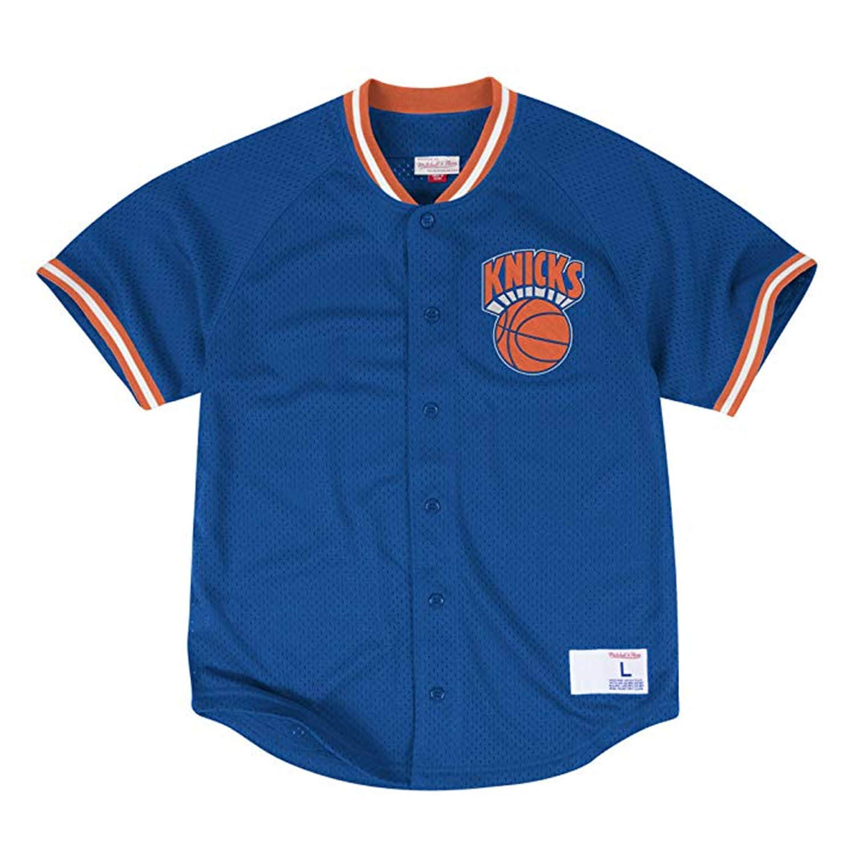 Mitchell & Ness New York Knicks Seasoned ProメッシュボタンNBA Jersey Royal Medium  B06XGCGYG6