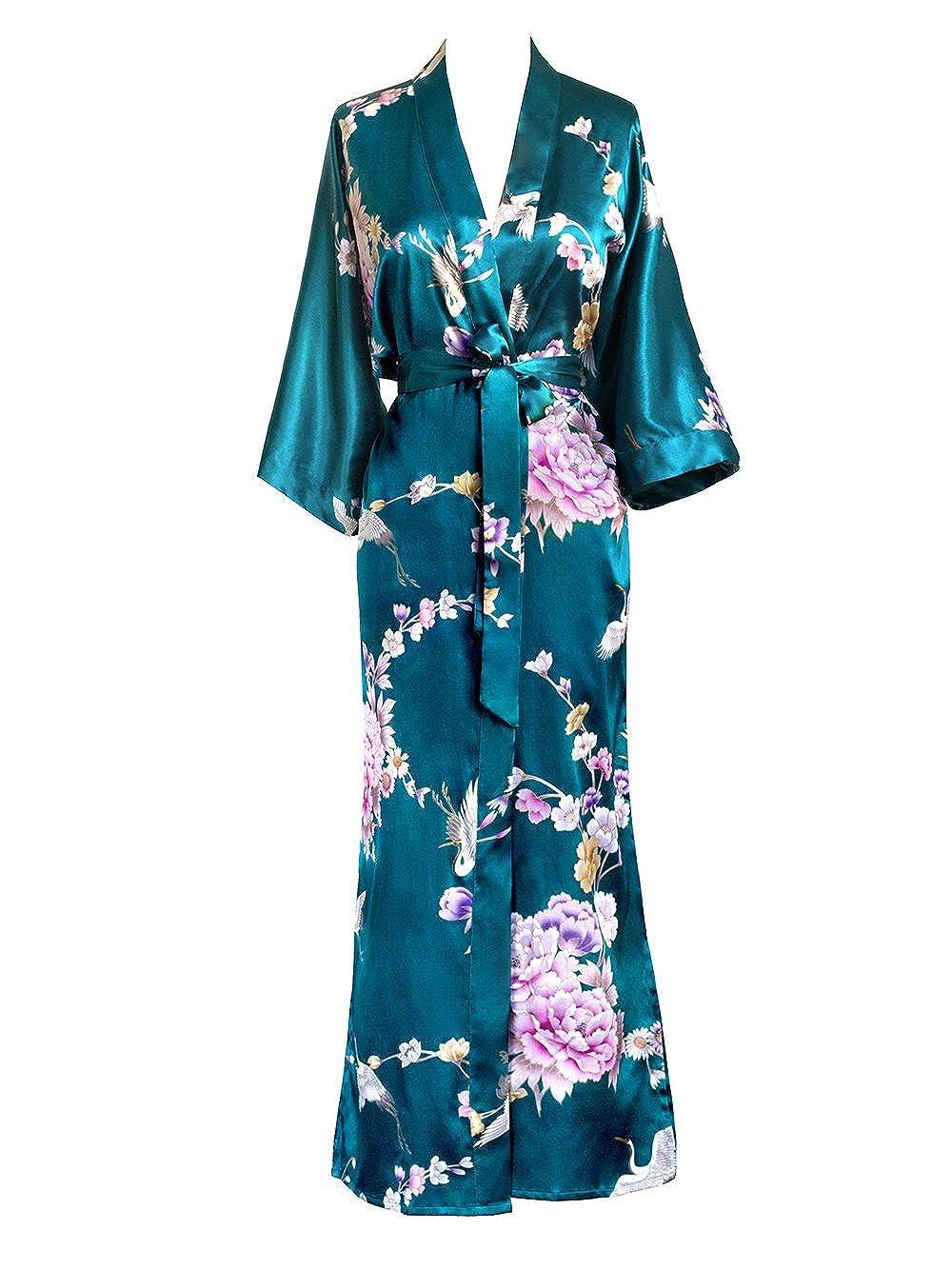 Old Shanghai Women's Kimono Long Robe - Chrysanthemum & Crane KML01PTCC-aqua