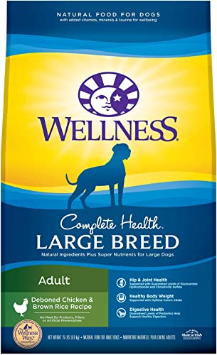 Wellness Complete Health Natural Dry Large Breed Dog Food, Chicken Rice