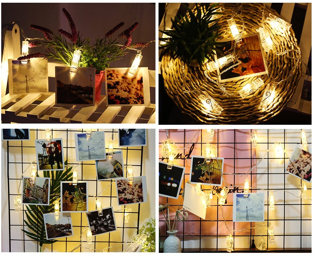 H.YOUNG Wall Deco LED Photo Clips String Lights,Perfect For Wedding Surprise Office celebrate And DIY Hanging Phtoes,20 Clips, 13 feet, Warm White