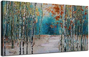 """Ardemy Canvas Wall Art White Birch Trees Picture Painting One Panel Blue Forest Landscape, Modern Nature Teal Artwork Prints 48""""x24"""" XLarge Size Framed for Home Office Bedroom Living Room Wall Decor"""