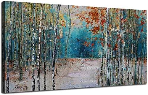 Ardemy Canvas Wall Art White Birch Trees Picture Painting One Panel Blue Forest Landscape