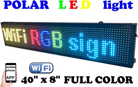 goLEDgo RGB FULL COLOR LED SIGN Splash WaterProof Programmable Scrolling LED Message Marquee Sign