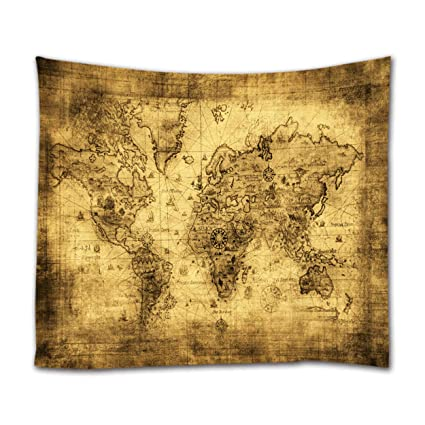 Amazon ihome888 world map tapestry wall hanging light weight ihome888 world map tapestry wall hanging light weight polyester fabric wall art decor 80l gumiabroncs Images