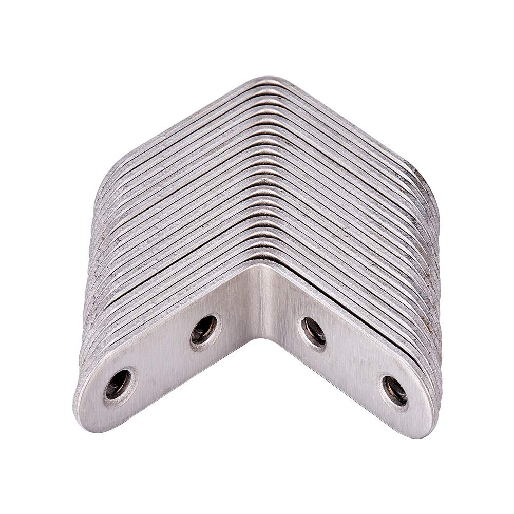 INCREWAY 20 Packs 40x40mm Stainless Steel L Bracket Corner Brace,Joint Right Angle Shelf Support Bracket with Screws