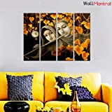 """WallMantra Radha Krishna Sepia Tone Wall Painting / 4 Pieces Canvas Print Wall Hanging/Stretched and Framed on Wood / 36"""" W x 24"""" H/Home Decor for Living Room, Bedroom, Office Decoration"""