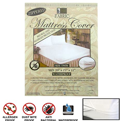12 Pc Twin Vinyl Zippered Mattress Cover Waterproof Bed Bug Dust Protector Lot