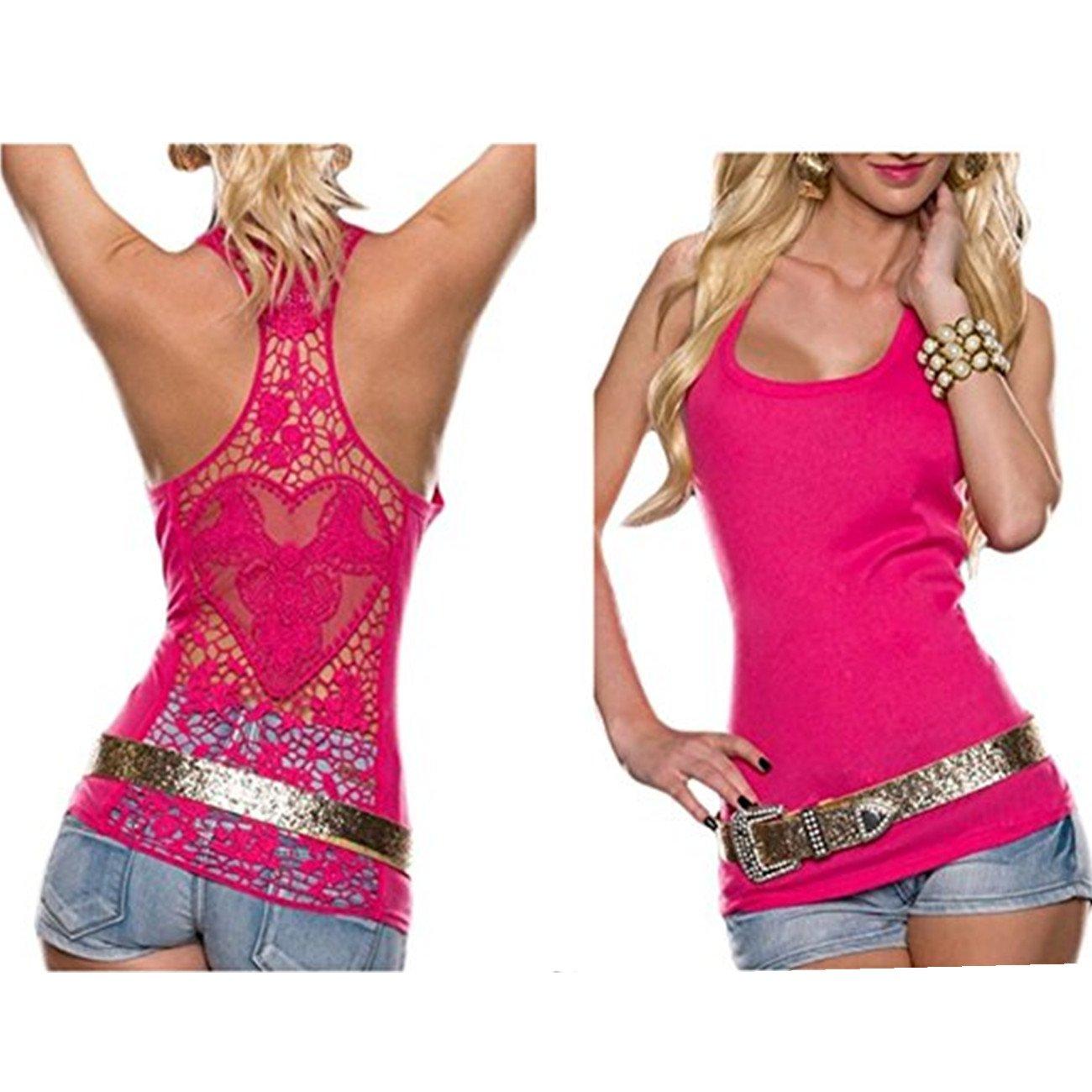 Women Crochet Hollow Out Lace Back Tank Top Clubwear Halter Camisole FIST BUMP