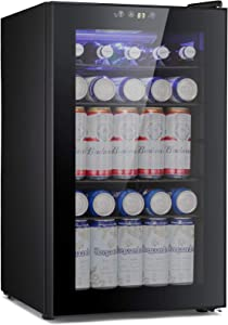 BOSSIN Beverage Refrigerator and Cooler, 85 Can Capacity with Smoky Gray Glass Door for Soda Beer or Wine,Compressor Touch Panel Digital Temperature Display for Home, Office, Bar(2.3 cu.ft)