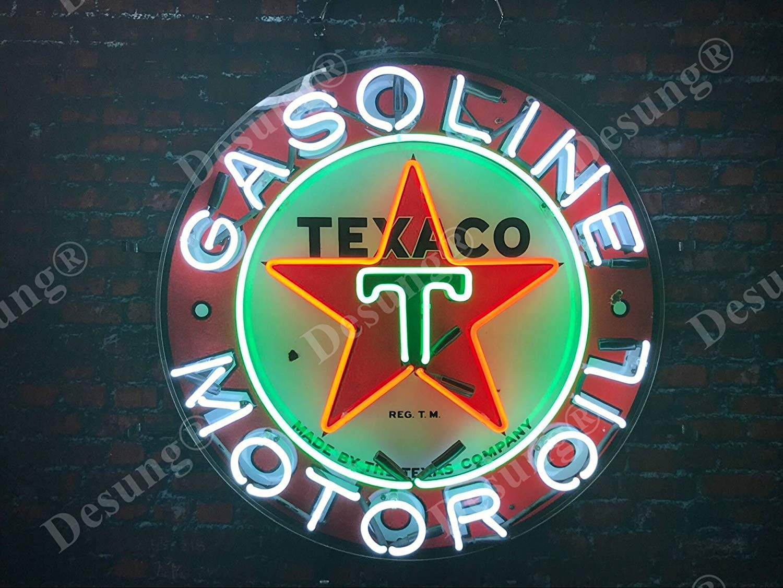 Desung 24x24 Texaco Gasoline Motor Oil Gas Station Neon Sign Light Lamp HD Vivid Printing Tech Beer Pub Bar Handmade Man Cave HV12