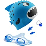Kids Swim Cap, Swimming Goggles with 3 Adjustable Nose Bridge & Protected Anti-Fog and Ear Plugs for Kids