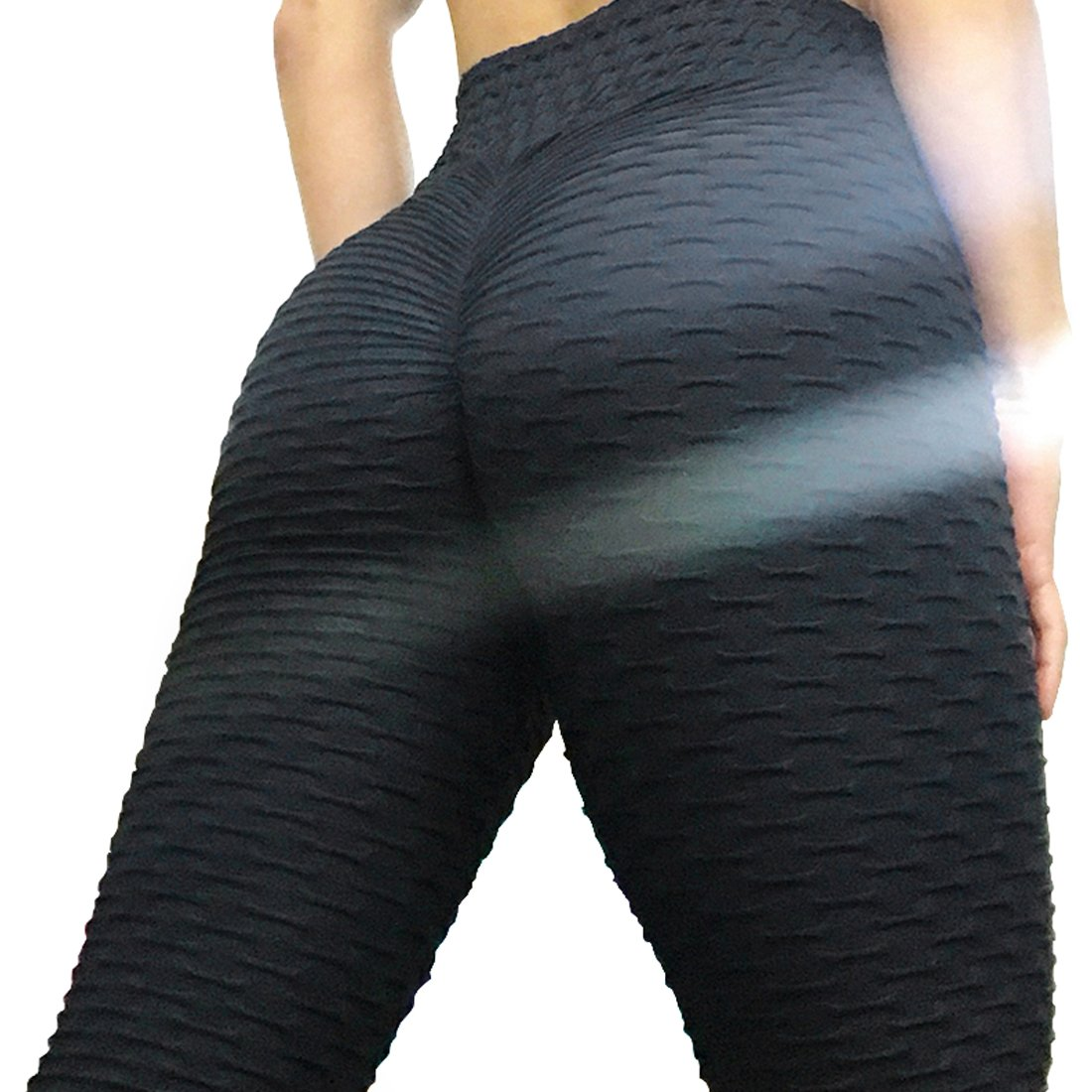 Womens Sport Yoga Pants Stretchy Skinny High Waisted Ruched Butt Lifting Long Workout Leggings (M, Black)
