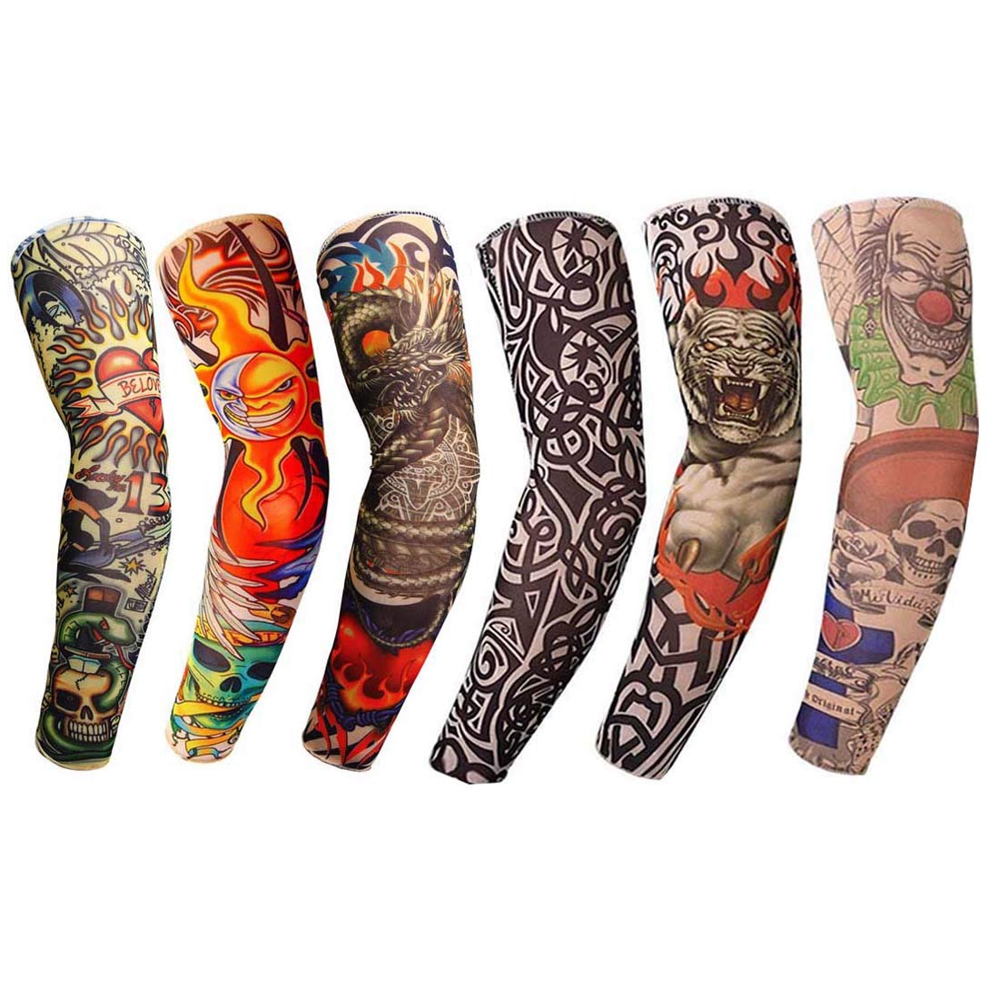 Amazon Com Tattoo Arm Sleeves 6pcs Fake Temporary Arm Tattoo Cover Up Sleeves Body Art Arm Stockings Slip Accessories For Men Women Designs Tribal Crown Heart Dragon Skull Unisex Stretchable Cosplay Accessorie