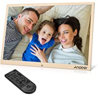 Andoer 15.4inch LED Digital Photo Frame 1280 * 800 Resolution Support 1080P Video Aluminum Alloy with Remote Control (Gold)