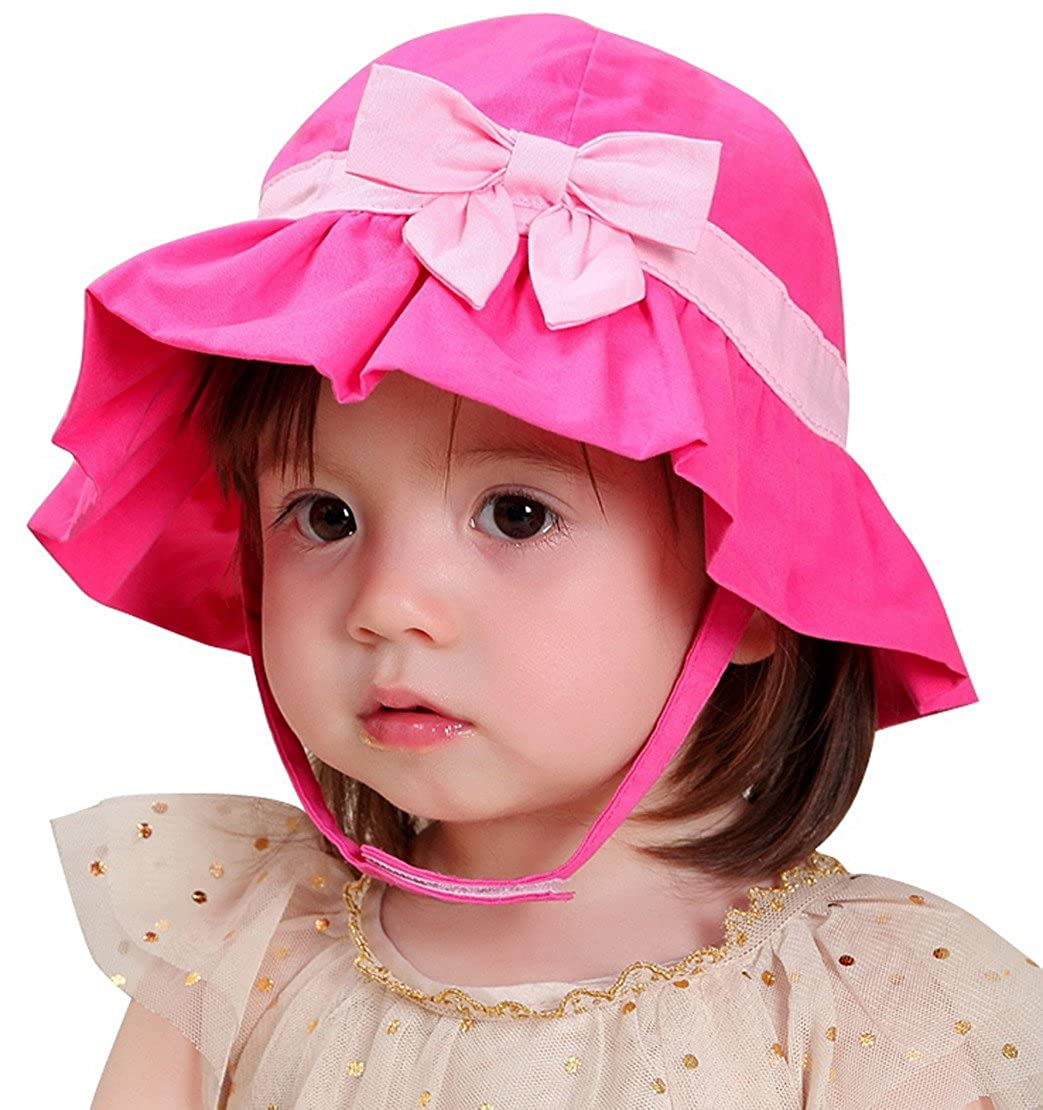 Happy Cherry Baby Cotton Bowknot Bucket Sunhat Fisherman Cap with Chin Strap