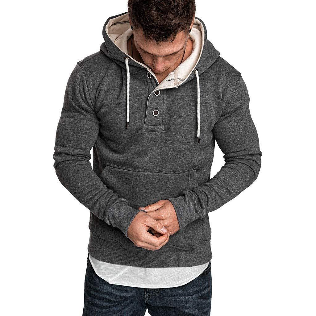 AcisuHu Hot Men Jacket Pullover-Hoodie Unisex Teen Splice Fashion Print-Button Hoodie Sweatshirt with Drawstring Hooded