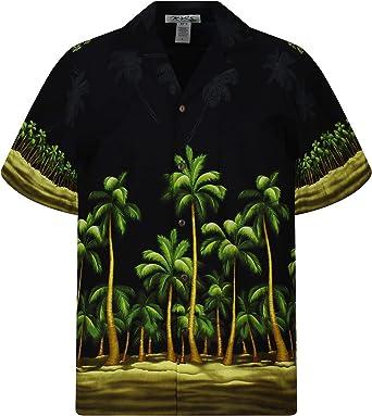 KYs   Original Camisa Hawaiana   Caballeros   S - 3XL   Manga Corta   Bolsillo Delantero   Estampado Hawaiano   Palmeras   Negro