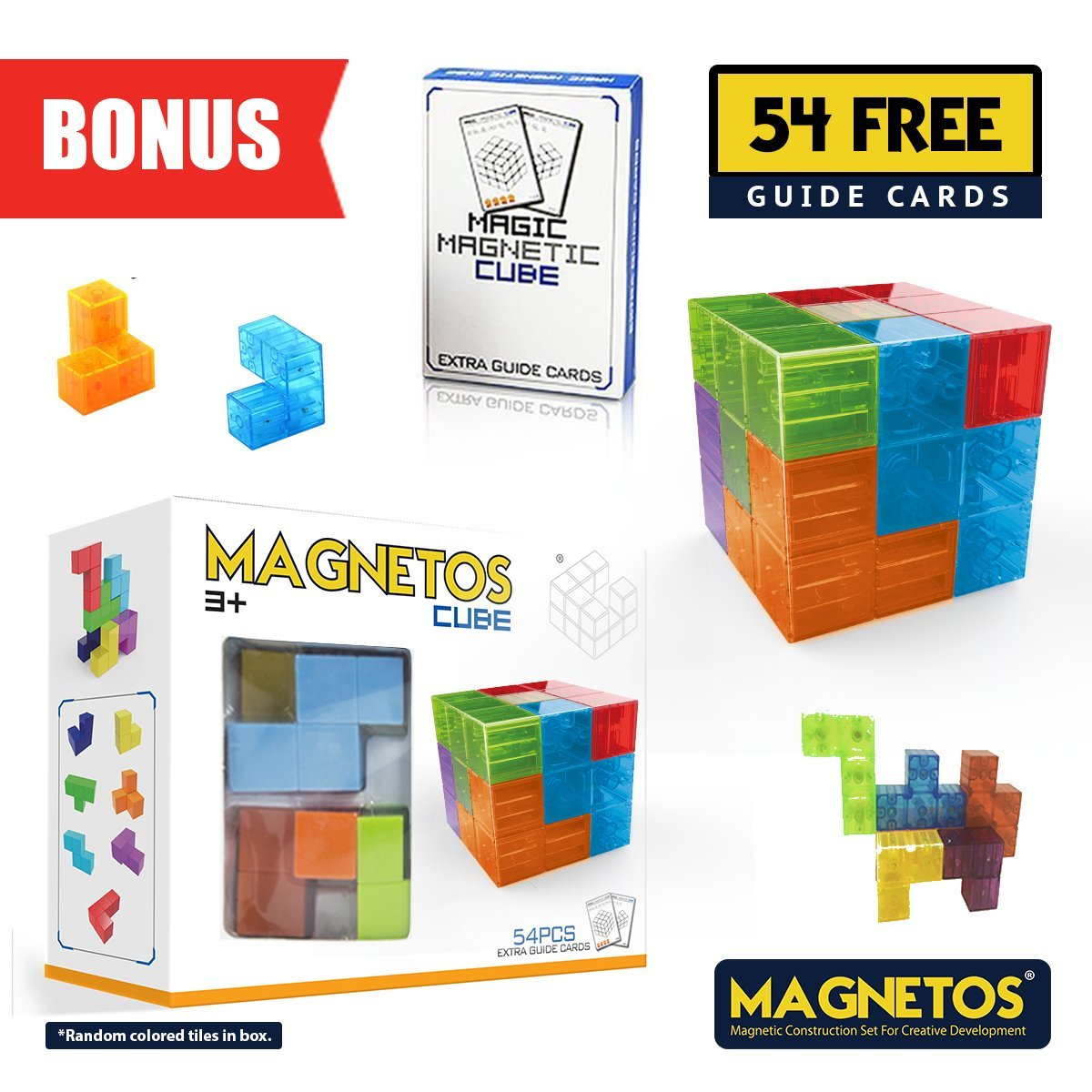 MAGNETOS Magnetic CUBE, FREE 54 Idea Cards, Educational, Construction Game, Challenging Puzzle for Boys, Girls and Adults of all Ages, Preschool STEM Toy for Childrens, Fidget