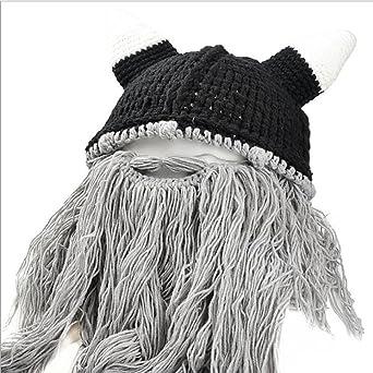 Sombrero De Lana Con Barba Peluca Creativo Personalidad De Halloween Tapas Hechas A Mano , Grayish