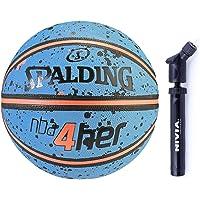 Spalding Basketball 4Her Splash Combo (Spalding 4Her Basketball, Size 6 Sky Blue/Peach + Niva Double Action Ball Pump)