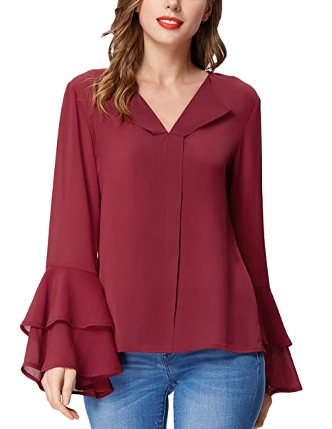 4ecfe35226fe GRACE KARIN Woman Semi Casual Blouse Tunic Tops Office Top(M, Red C1058) at Amazon  Women's Clothing store: