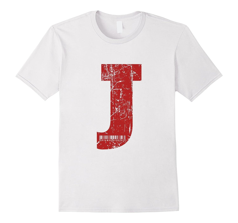Red Grunge Monogram Letter J I Am Unique TShirt