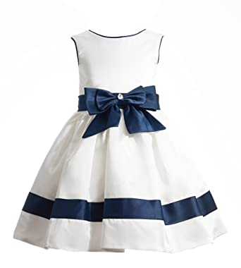 Amazon alivedre satin stripe flower girl dress pageant formal alivedre satin stripe flower girl dress pageant formal toddler dresssize us 12tivory navy blue mightylinksfo