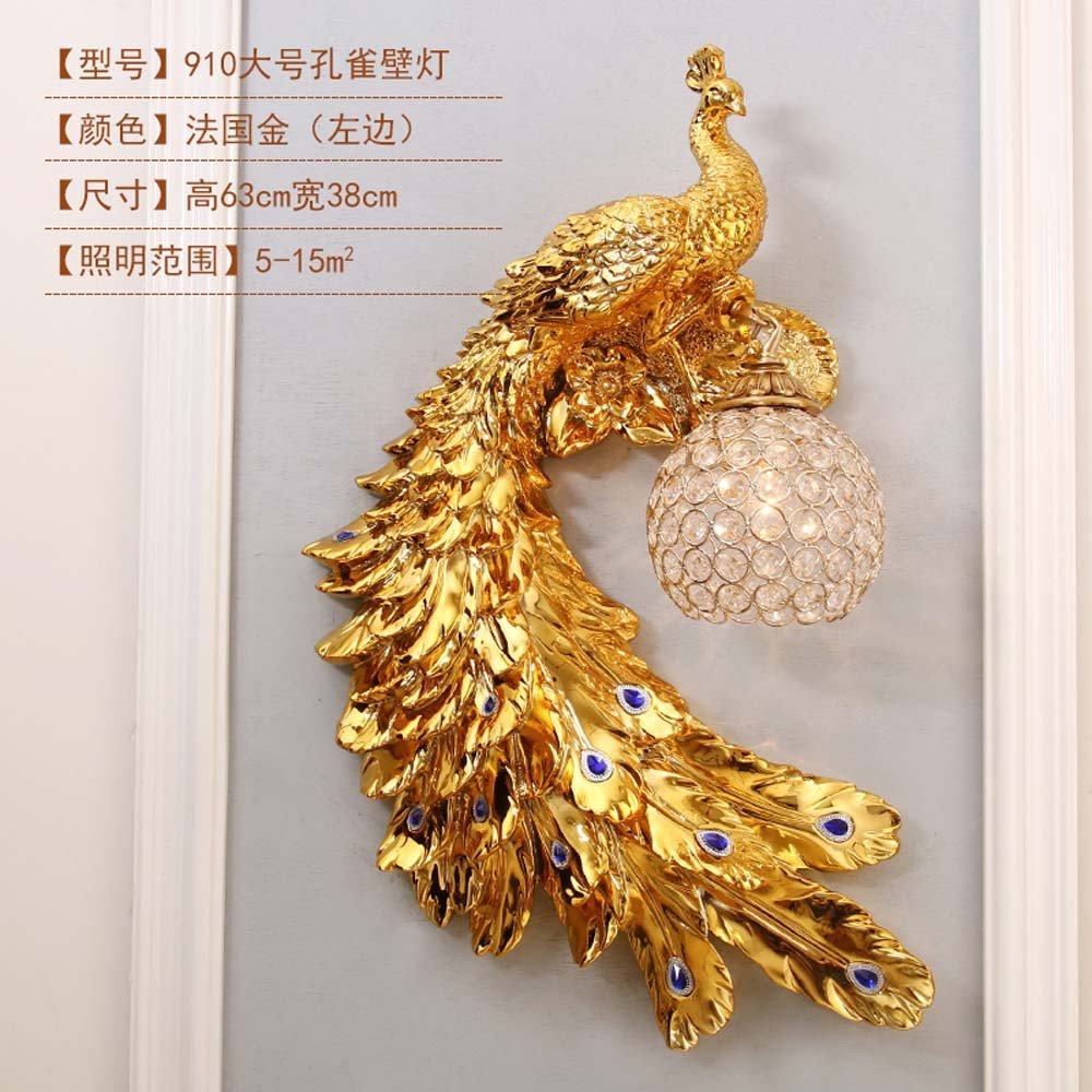 GOUZI Wandleuchte Persönlichkeit kreativ Peacock Zimmer TV-Wand, die Größe Links Wandleuchte für Wohnzimmer Schlafzimmer Küche Bad Nacht Flur Eingangsbar