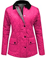 Top Vendor Ladies Womens Quilted Padded Coat Button Zip Jacket Top UK size 8 10 12 14 16 18 20