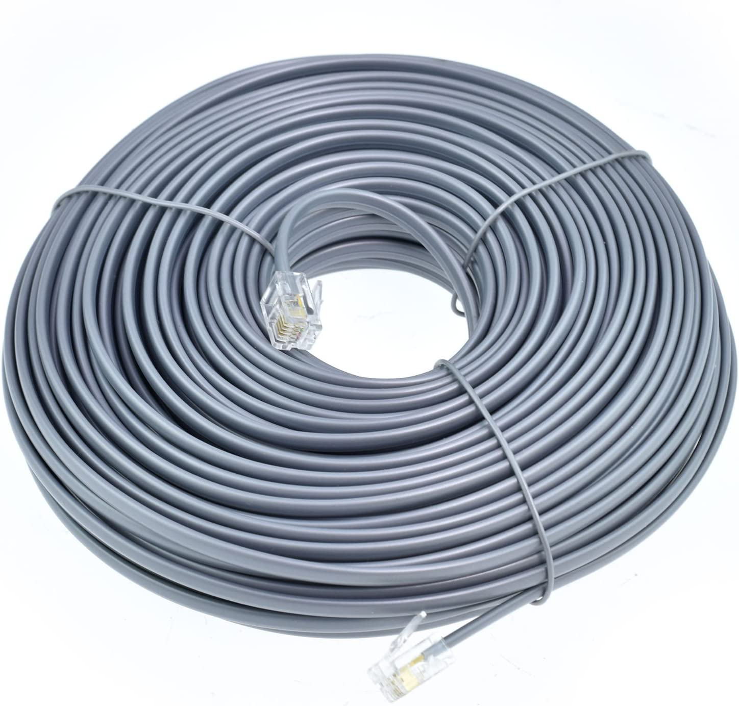 25 FT feet RJ11 6P4C Modular Telephone Extension Cable Phone Cord Line Wire Grey