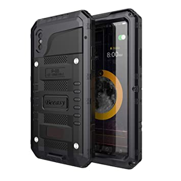 650bc729ecf Beeasy Funda Antigolpes iPhone XS, [Sumergible] Carcasa Impermeable  Resistente Reforzada Acuática Waterproof Metálica Grado Militar Resistente  Antipolvos ...