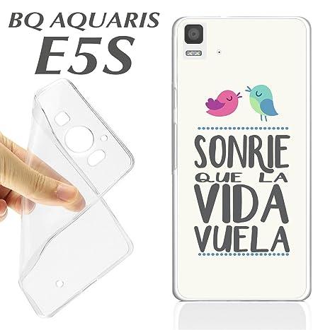 FUNDA CARCASA + PROTECTOR DE CRISTAL (OPCIONAL) BQ AQUARIS E5S FRASE SONRIE QUE LA VIDA VUELA K37 - C ARCASA+PROTECTOR