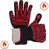 BBQ Gloves Oven Mitt Hand Protection from Grilling,BBQ,Fires,Microwave Oven and Other Hot Work in Kitchen,Outdoor Camping and Garden Party,Heat and Flame Resistant up to 932 °F Aramid Fiber Nomex